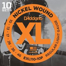 Струны D'Addario Nickel Wound (10 комплектов) 10-46 (EXL110-10P)