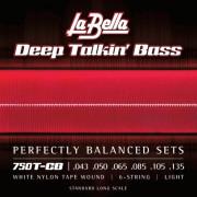 750T-CB Комплект струн для 6-струнной бас-гитары с белым нейлоном 043-135T, La Bella
