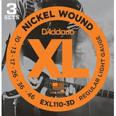 Струны D'Addario Nickel Wound (3 комплекта) 10-46 (EXL110 3D)
