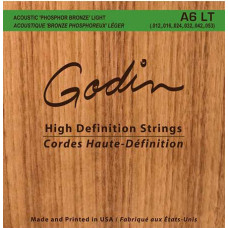 008995 A6 LT Комплект струн для акустической гитары, фосфорная бронза, 12-53, Godin
