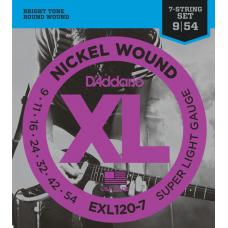 Струны D'Addario Nickel Wound 7-string 9-54 (EXL120-7XL)
