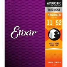 Струны Elixir NanoWeb 80/20 Bronze Acoustic 11-52 (11027)