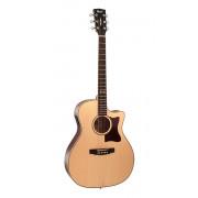 GA10F-NS Grand Regal Series Электро-акустическая гитара, с вырезом, цвет натуральный, Cort