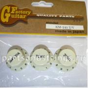 Комплект ручек регулировки GF (Guitar Factory), Светло Бежевый KM-240T/V, 3шт