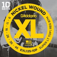 Струны D'Addario Nickel Wound (10 комплектов) 9-46 (EXL125-10P)