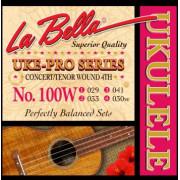 100W Uke-Pro Комплект струн для концертного и тенор укулеле, оплетка 4-ой струны, La Bella