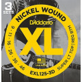 Струны D'Addario Nickel Wound (3 комплекта) 9-46 (EXL125-3D)