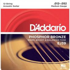 Струны D'Addario Phosphor Bronze 12-String Acoustic 12-52 (EJ39)