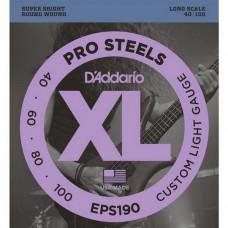 Струны D'Addario Pro Steels Bass 40-100 (EPS190)
