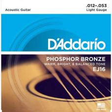Струны D'Addario Phosphor Bronze Acoustic 12-53 (EJ16)