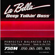 750N-B Комплект струн для 5-струнной бас-гитары с черным нейлоном 050-135 La Bella
