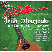 IB1244S Комплект струн для ирландского бузуки, фосф.бронза, 12-44, La Bella