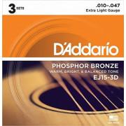 Струны D'Addario Phosphor Bronze Acoustic (3 комплекта) 10-47 (EJ15-3D)