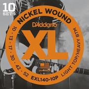 Струны D'Addario Nickel Wound (10 комплектов) 10-52 (EXL140-10P)