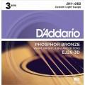Струны D'Addario Phosphor Bronze Acoustic (3 комплекта) 11-52 (EJ26-3D)