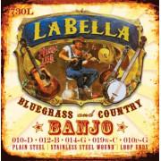 730L-LE Banjo Комплект струн для 5-струнного банджо, нерж.сталь, Light, 10-10, петли, La Bella