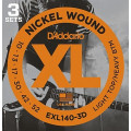 Струны D'Addario Nickel Wound (3 комплекта) 10-52 (EXL140-3D)