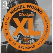 Струны D'Addario Nickel Wound (3 комплекта) 10-52 (EXL140-3D)