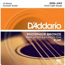 Струны D'Addario Phosphor Bronze 12-String Acoustic 9-45 (EJ41)