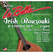 IB1142L Комплект струн для ирландского бузуки, фосф.бронза, 11-42, La Bella