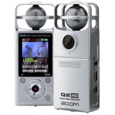 Zoom Q2HD ручной мини видеорекордер со стерео микрофоном и HD видео серебряный