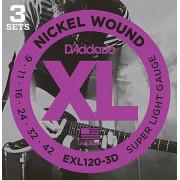 Струны D'Addario Nickel Wound (3 комплекта) 9-42 (EXL120-3D)