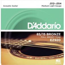 Струны D'Addario American Bronze 85/15 Acoustic 12-54 (EZ920)