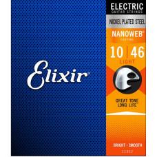 12052 NANOWEB Комплект струн для электрогитары, Light, 10-46, Elixir