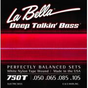750T-B Комплект струн для 5-струнной бас-гитары с белым нейлоном 050-135 La Bella
