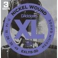 Струны D'Addario Nickel Wound 11-49 (EXL115-3D)