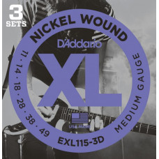 Струны D'Addario Nickel Wound 11-49 (EXL115-3D)