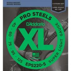 Струны D'Addario Pro Steels Bass 5-string 40-125 (EPS220-5)