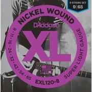 Струны D'Addario Nickel Wound 8-string 9-65 (EXL120-8)