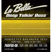 760FGS-CB Gold Flats Комплект струн для 6-струнной бас-гитары, 29-128, сплав бронзы, La Bella