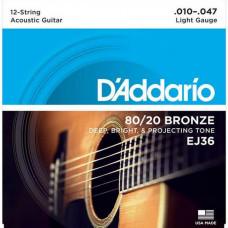 Струны D'Addario 80/20 Bronze 12-String Acoustic 10-47 (EJ36)
