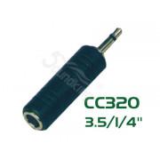 CC320 Переходник (разъем переходной) 3,5мм, моно, штекер - 6,35мм, моно, гнездо, Soundking