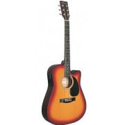 Электроакустическая гитара  Caraya 41 с вырезом, цвет санберст (F631CEQ-BS)