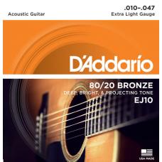 Струны D'Addario 80/20 Bronze Acoustic 10-47 (EJ10)