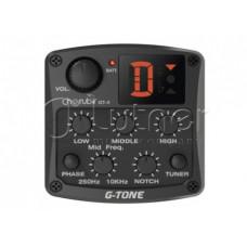 Звукосниматель пьезо для акустики Cherub GT-4 с 3х-полосным эквалайзером, тюнером и контролем средних частот